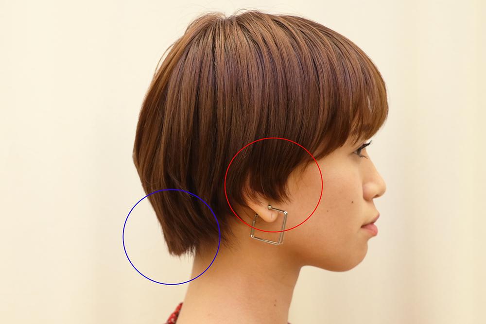 上の写真のショートヘアの女性は、耳の周りや表面の髪が短く、襟足が長いカットになっています。  このまま全体の髪を伸ばし続けてしまうと、一昔前に流行った、襟足