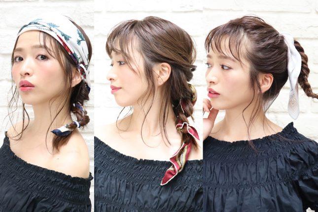 スカーフを使って、マンネリ化したヘアアレンジを打破しよう!美容師に聞く、3つの使い方